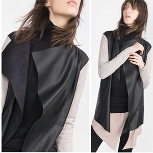 Zara knit faux leather suede drape jacket cardigan